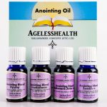 Anointing Oils Pack: 4 X 10ml bottles of Exodus 30 Blend, John 3 Blend, Frankincense Blend and Hyssop Anointing Blend conveniently packed together.